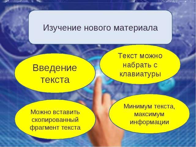 Изучение нового материала Введение текста Текст можно набрать с клавиатуры Ми...