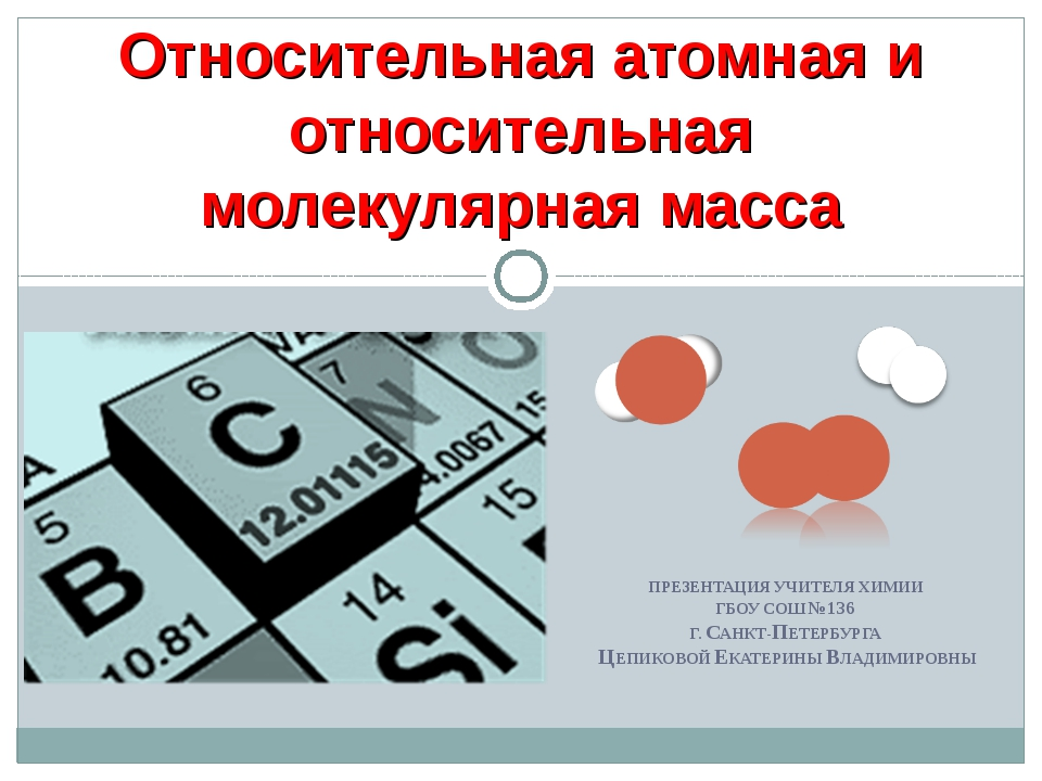 Относительная атомная и относительная молекулярная масса ПРЕЗЕНТАЦИЯ УЧИТЕЛЯ...