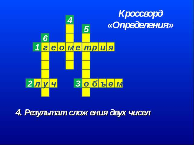4. Результат сложения двух чисел 6 Кроссворд «Определения»