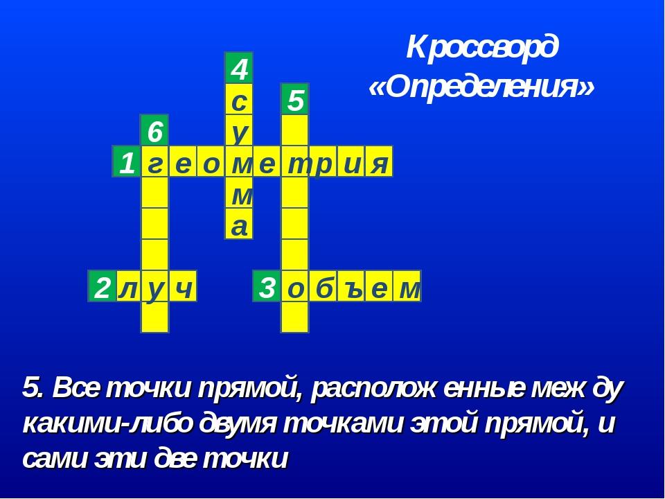 5. Все точки прямой, расположенные между какими-либо двумя точками этой прямо...