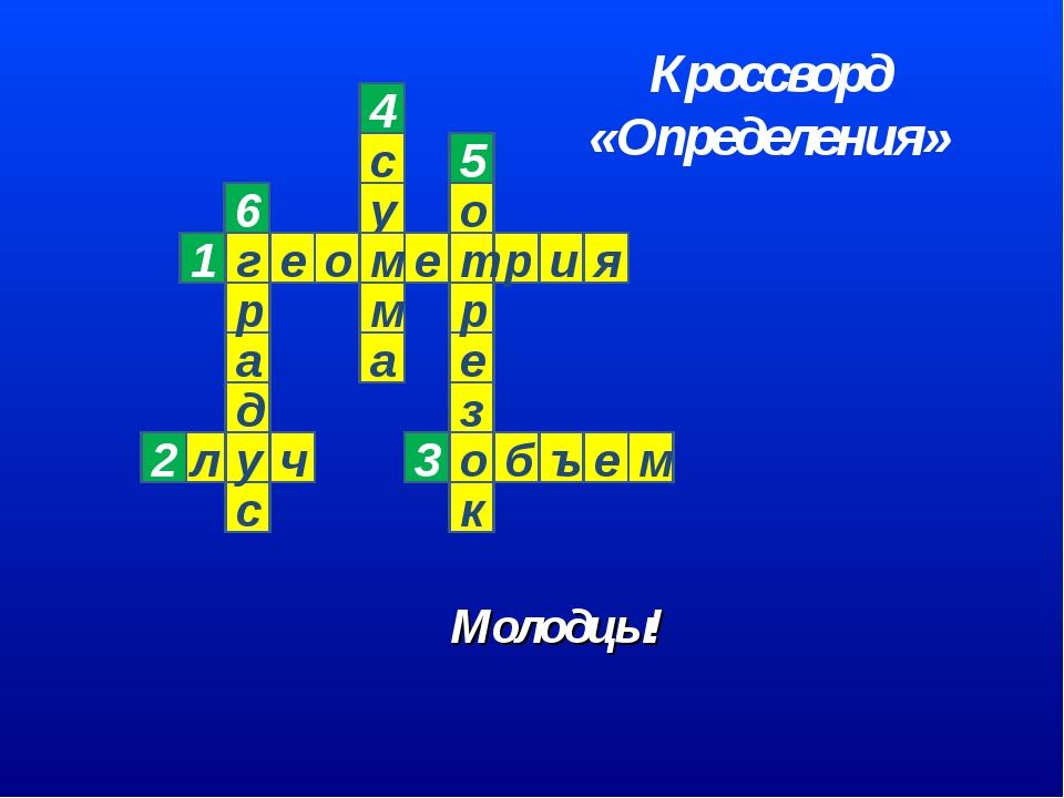 Молодцы! 6 Кроссворд «Определения»