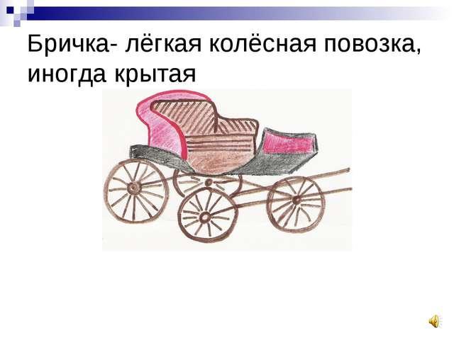 Бричка- лёгкая колёсная повозка, иногда крытая