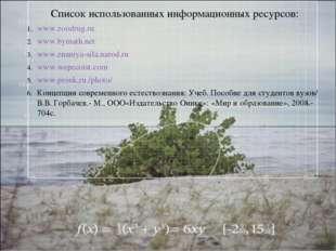 Список использованных информационных ресурсов: www.zoodrug.ru www.bymath.net