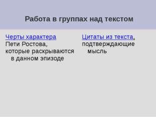 Работа в группах над текстом Черты характера Пети Ростова, которые раскрываю