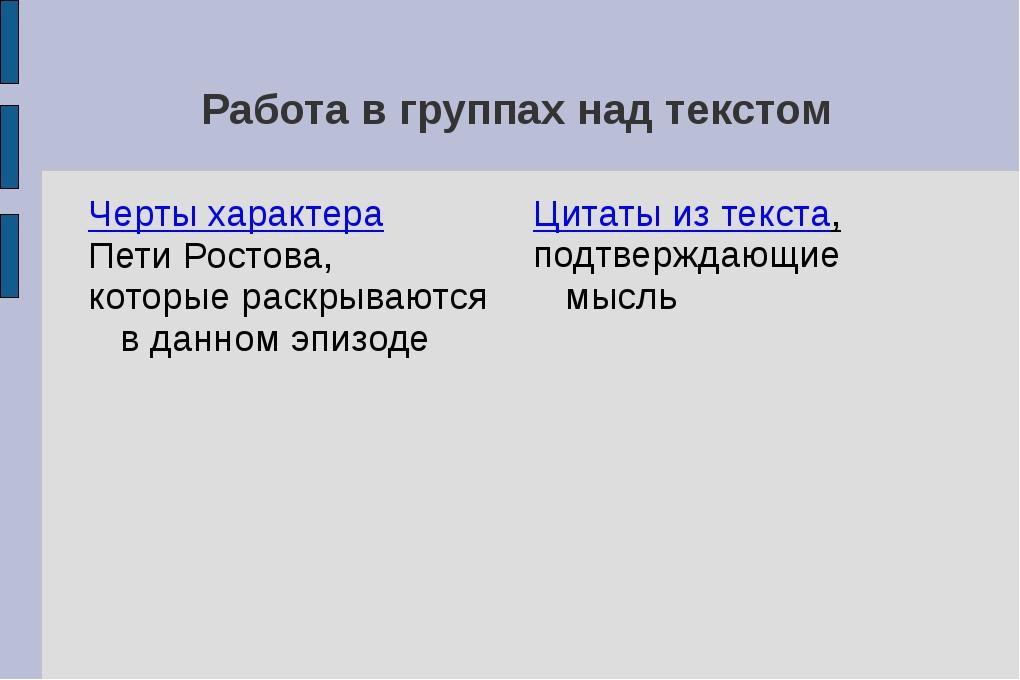 Работа в группах над текстом Черты характера Пети Ростова, которые раскрываю...