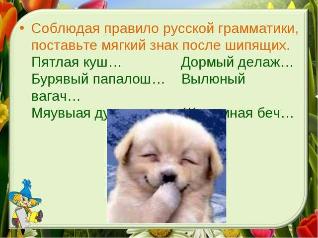 Соблюдая правило русской грамматики, поставьте мягкий знак после шипящих. Пят...