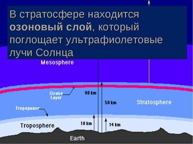 В стратосфере находится озоновый слой, который поглощает ультрафиолетовые луч...