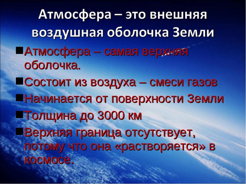 Атмосфера – самая верхняя оболочка. Состоит из воздуха – смеси газов Начинает...