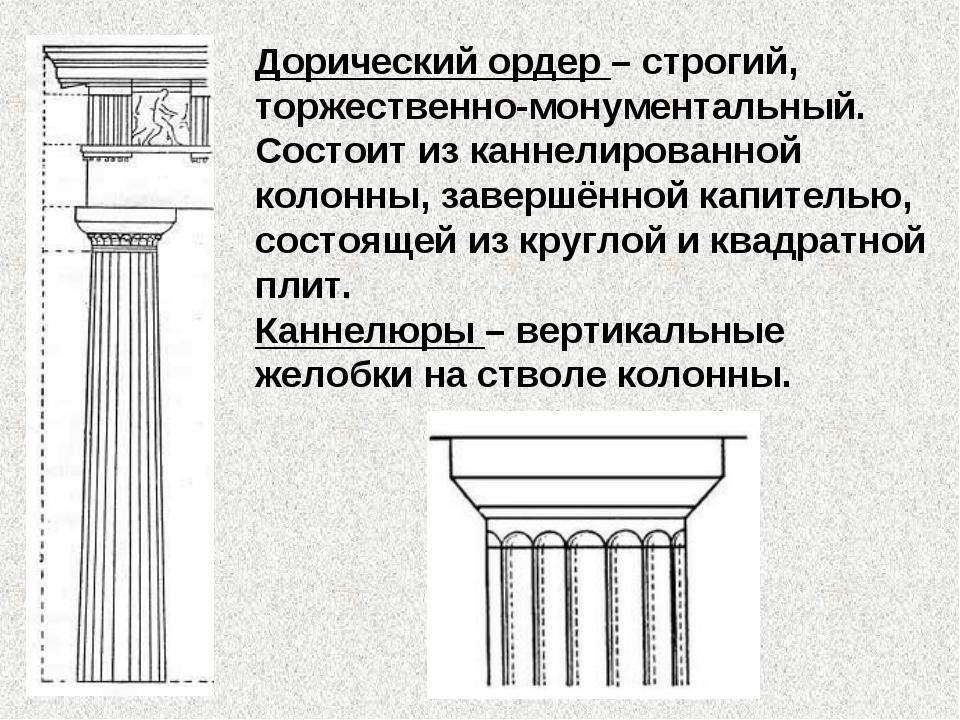 Дорический ордер – строгий, торжественно-монументальный. Состоит из каннелиро...