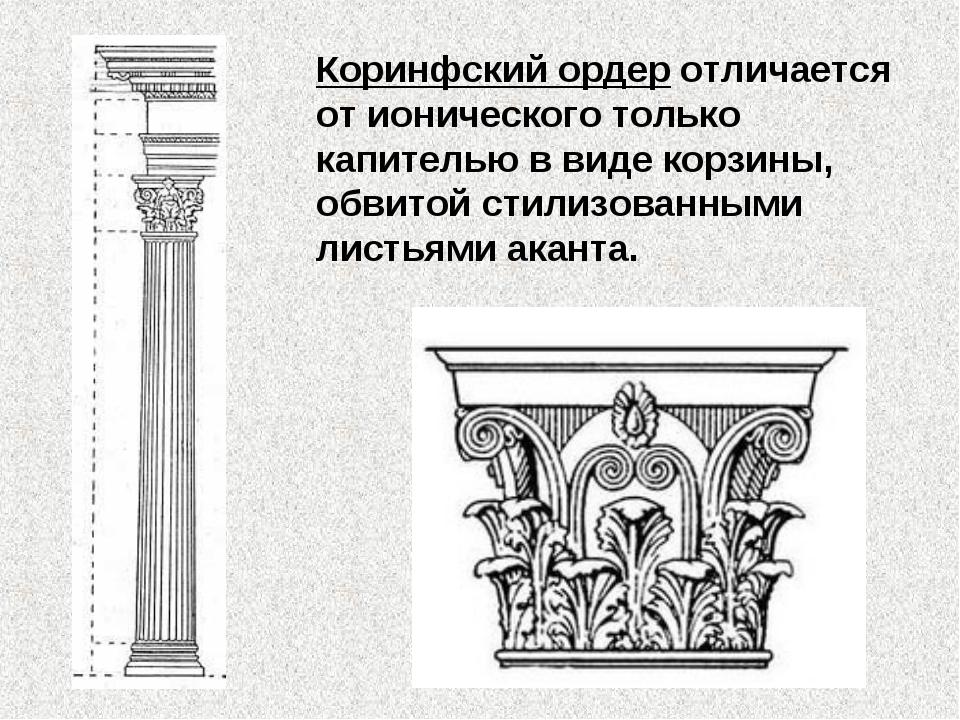 Коринфский ордер отличается от ионического только капителью в виде корзины, о...