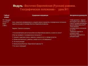 Модуль «Восточно-Европейская (Русская) равнина. Географическое положение» уро