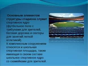 Основным элементом структуры стадиона служит спортивное ядро (футбольное пол