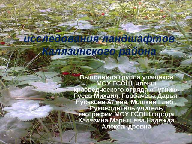 исследования ландшафтов Калязинского района Выполнила группа учащихся МОУ ГСО...