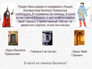 Пришёл Иван-царевич в подземелье к Кощею Бессмертному Василису Прекрасную осв