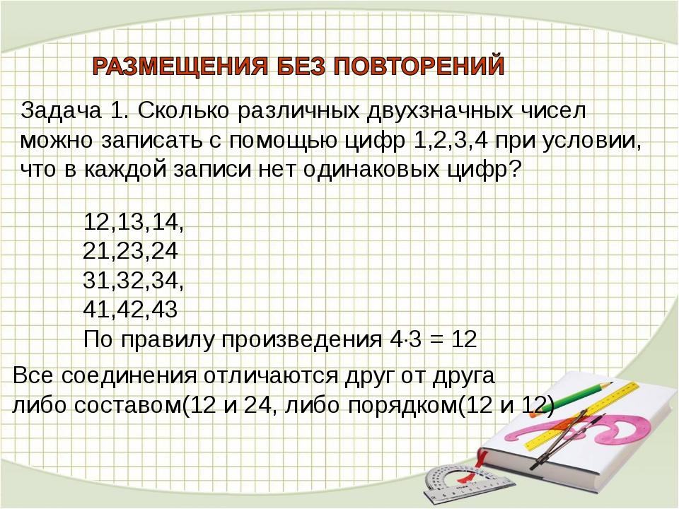 Задача 1. Сколько различных двухзначных чисел можно записать с помощью цифр 1...