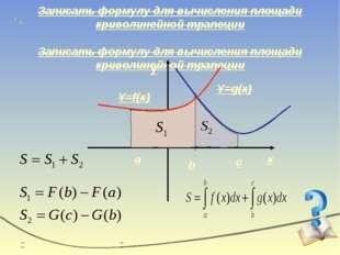 Записать формулу для вычисления площади криволинейной трапеции x y Y=g(x) Y=f