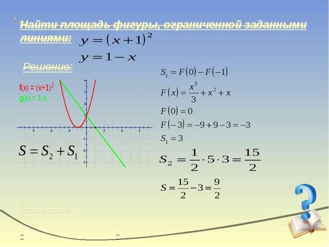 Найти площадь фигуры, ограниченной заданными линиями: Решение: Ответ: 4,5