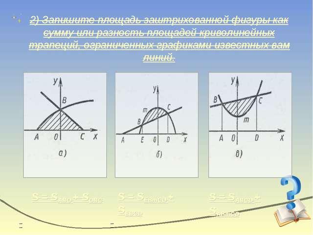 2) Запишите площадь заштрихованной фигуры как сумму или разность площадей кри...