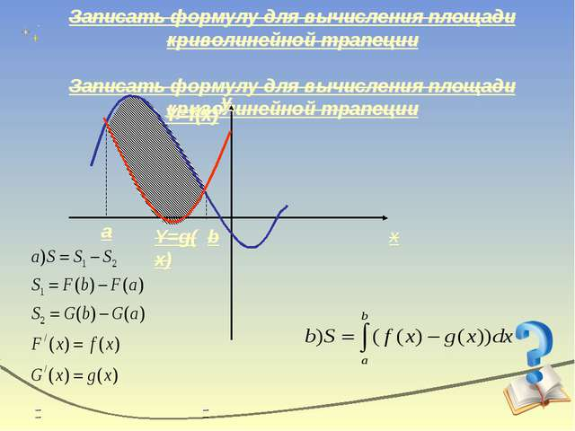 Записать формулу для вычисления площади криволинейной трапеции x y Y=f(x) Y=g...