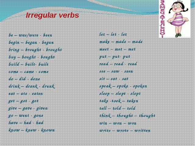 Irregular verbs