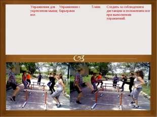 Упражнения для укрепления мышц ног.Упражнения с барьерами5 мин.Следить з