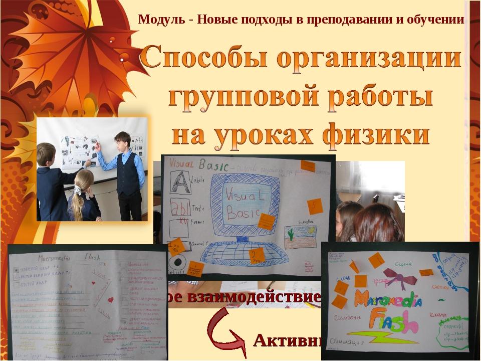 Модуль - Новые подходы в преподавании и обучении Социальное взаимодействие Ак...