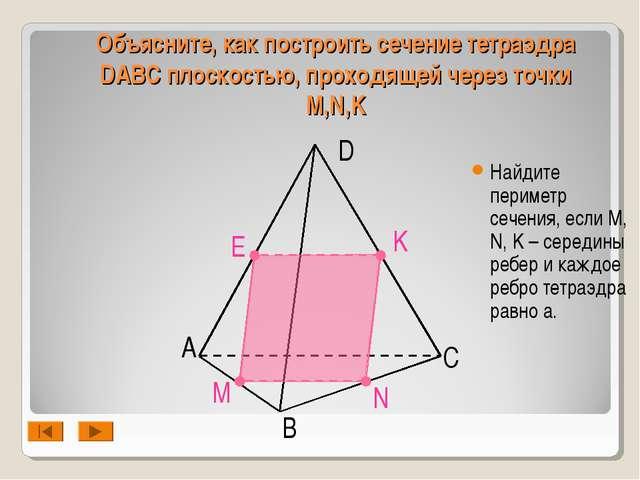 А B D C N M K Объясните, как построить сечение тетраэдра DABC плоскостью, про...