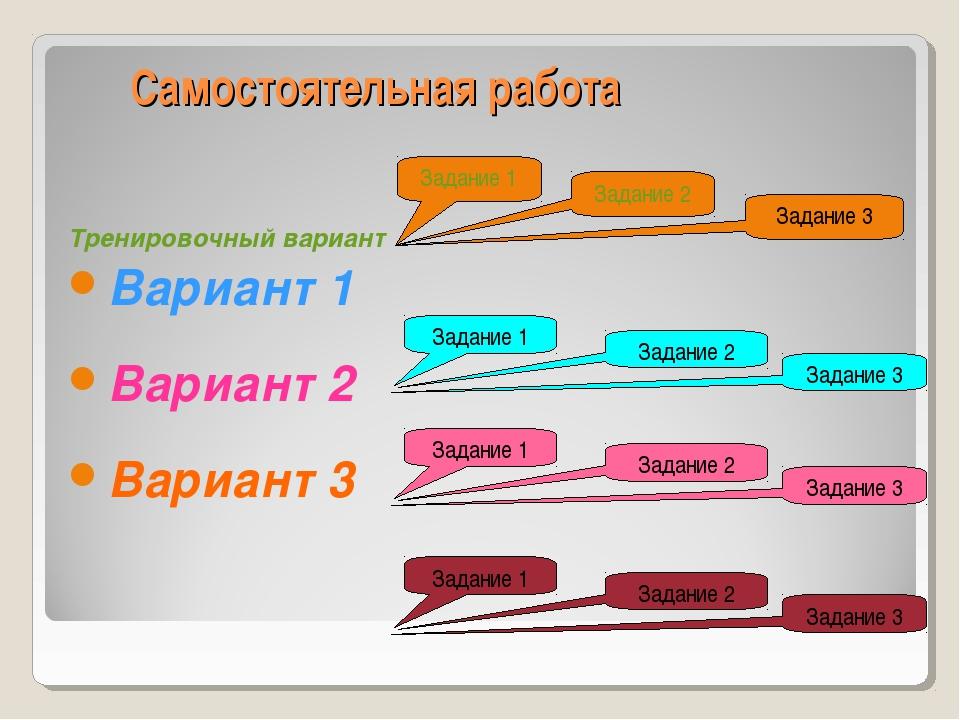 Самостоятельная работа Тренировочный вариант Вариант 1 Вариант 2 Вариант 3 За...