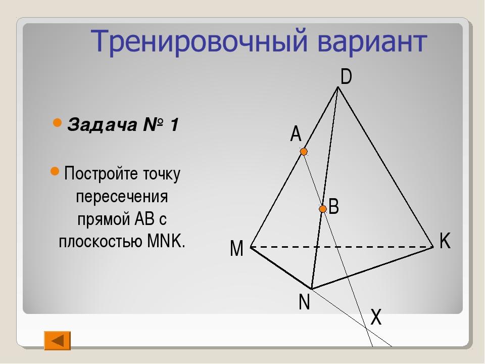 Задача № 1 Постройте точку пересечения прямой АВ с плоскостью MNK. B N Х