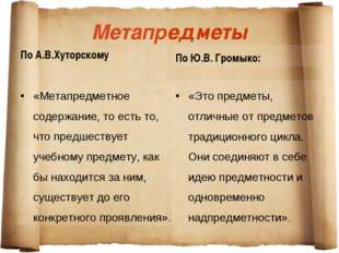 Метапредметы По А.В.Хуторскому «Метапредметное содержание, то есть то, что пр