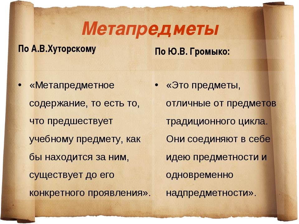 Метапредметы По А.В.Хуторскому «Метапредметное содержание, то есть то, что пр...