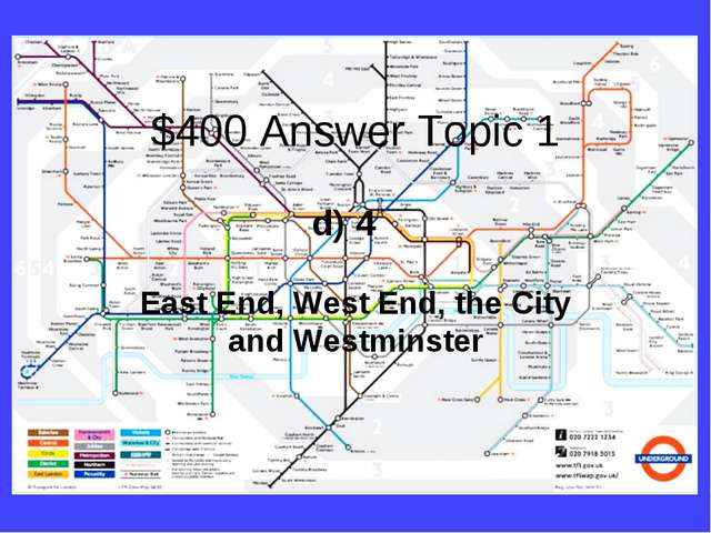 $400 Answer Topic 1 d) 4 East End, West End, the City and Westminster
