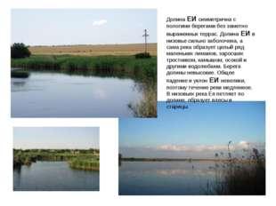 Долина ЕИ симметрична с пологими берегами без заметно выраженных террас. Доли