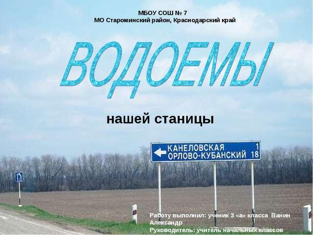 МБОУ СОШ № 7 МО Староминский район, Краснодарский край Работу выполнил: учени...