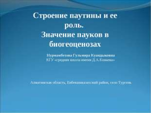 Нурмамбетова Гульмира Куандыковна КГУ «средняя школа имени Д.А.Конаева» Алмат