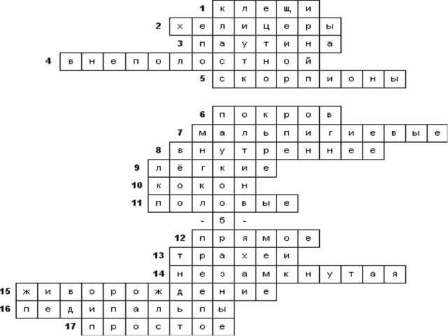 Кроссворды биология 7 класс сонин н.и кроссворд тип членистоногие класс паукообразные с ответами