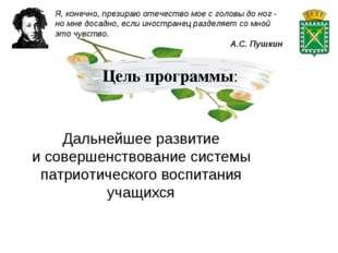 Цель программы: Дальнейшее развитие исовершенствование системы патриотическо