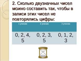 2. Сколько двузначных чисел можно составить так, чтобы в записи этих чисел не