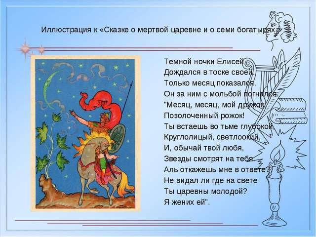 Иллюстрация к «Сказке о мертвой царевне и о семи богатырях Темной ночки Елисе...