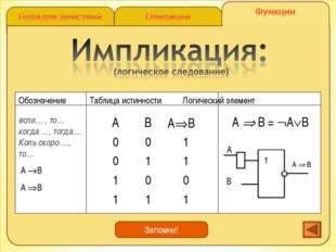 А  B = АВ если… , то… когда …, тогда… Коль скоро …, то… A B A B Запомни!