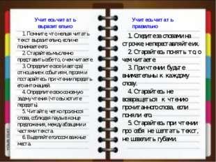 Учитесь читать правильно Учитесь читать выразительно  1. Следите за словам