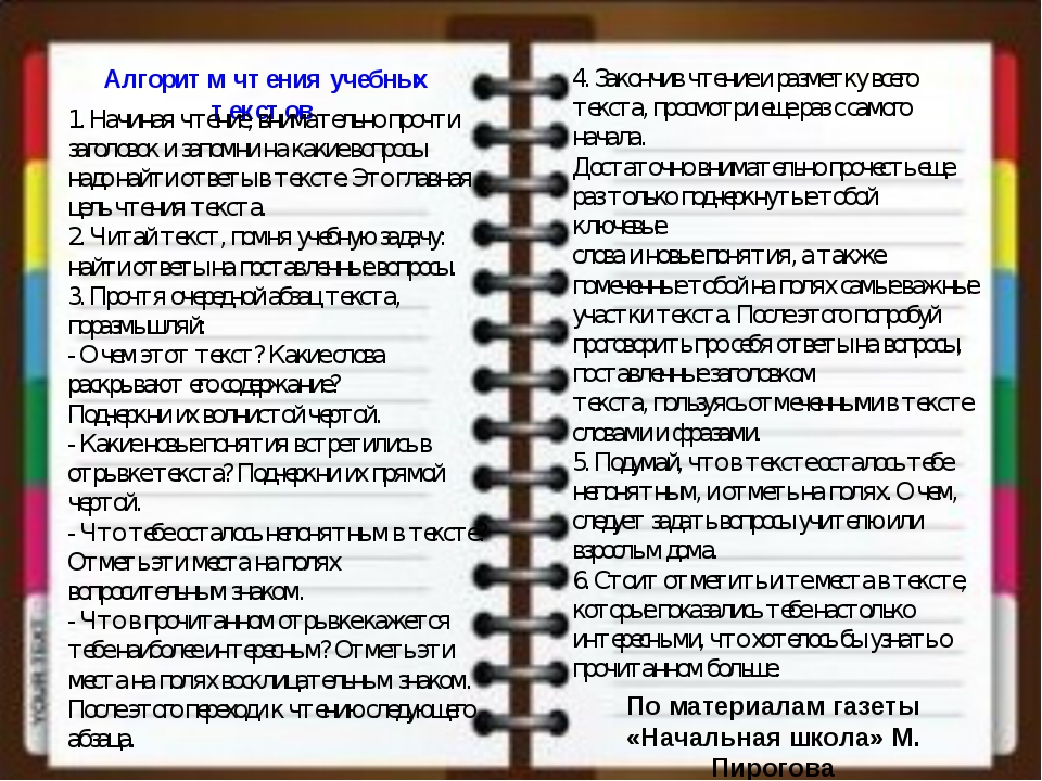 По материалам газеты «Начальная школа» М. Пирогова Алгоритм чтения учебных те...