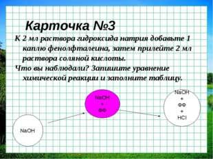 Карточка №3 К 2 мл раствора гидроксида натрия добавьте 1 каплю фенолфталеина,