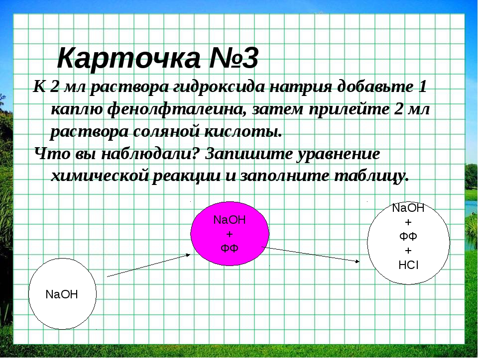 Карточка №3 К 2 мл раствора гидроксида натрия добавьте 1 каплю фенолфталеина,...