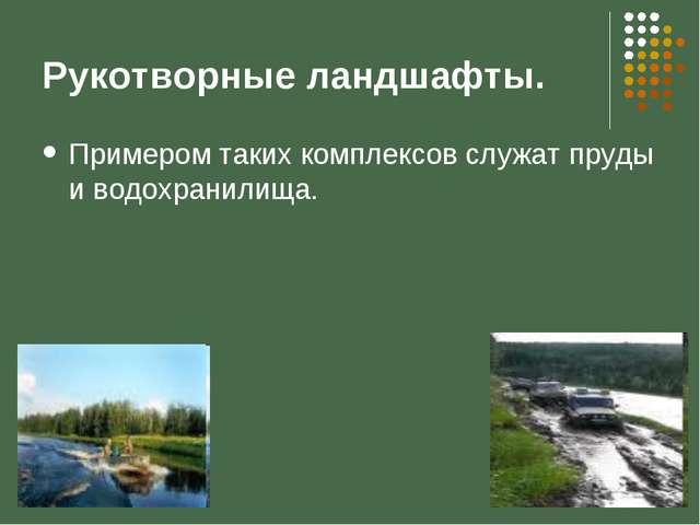 Рукотворные ландшафты. Примером таких комплексов служат пруды и водохранилища.
