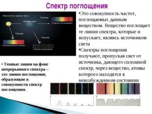 Темные линии на фоне непрерывного спектра – это линии поглощения, образующие