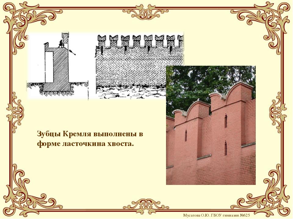 Зубцы Кремля выполнены в форме ласточкина хвоста. Мусатова О.Ю. ГБОУ гимназия...