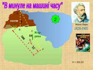 Жюль Верн скеля Жер-дина ? 10 500 15 2 Н ≈ 333,33 A B C D F