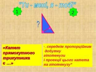 """2 «Катет прямокутного трикутника є …» """"…середнім пропорційним добутку гіпотен"""