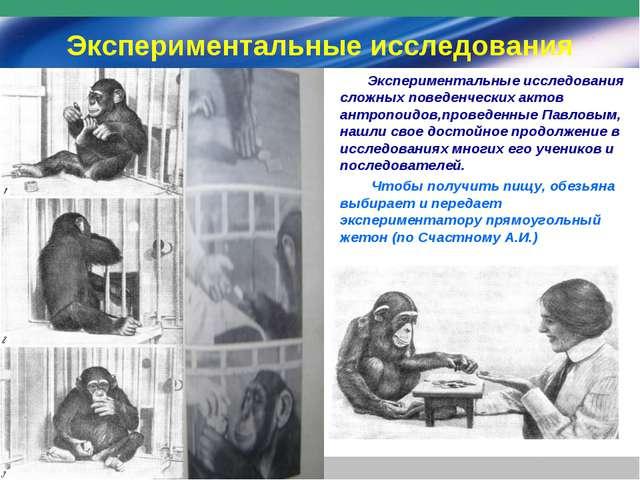 Экспериментальные исследования Экспериментальные исследования сложных поведен...